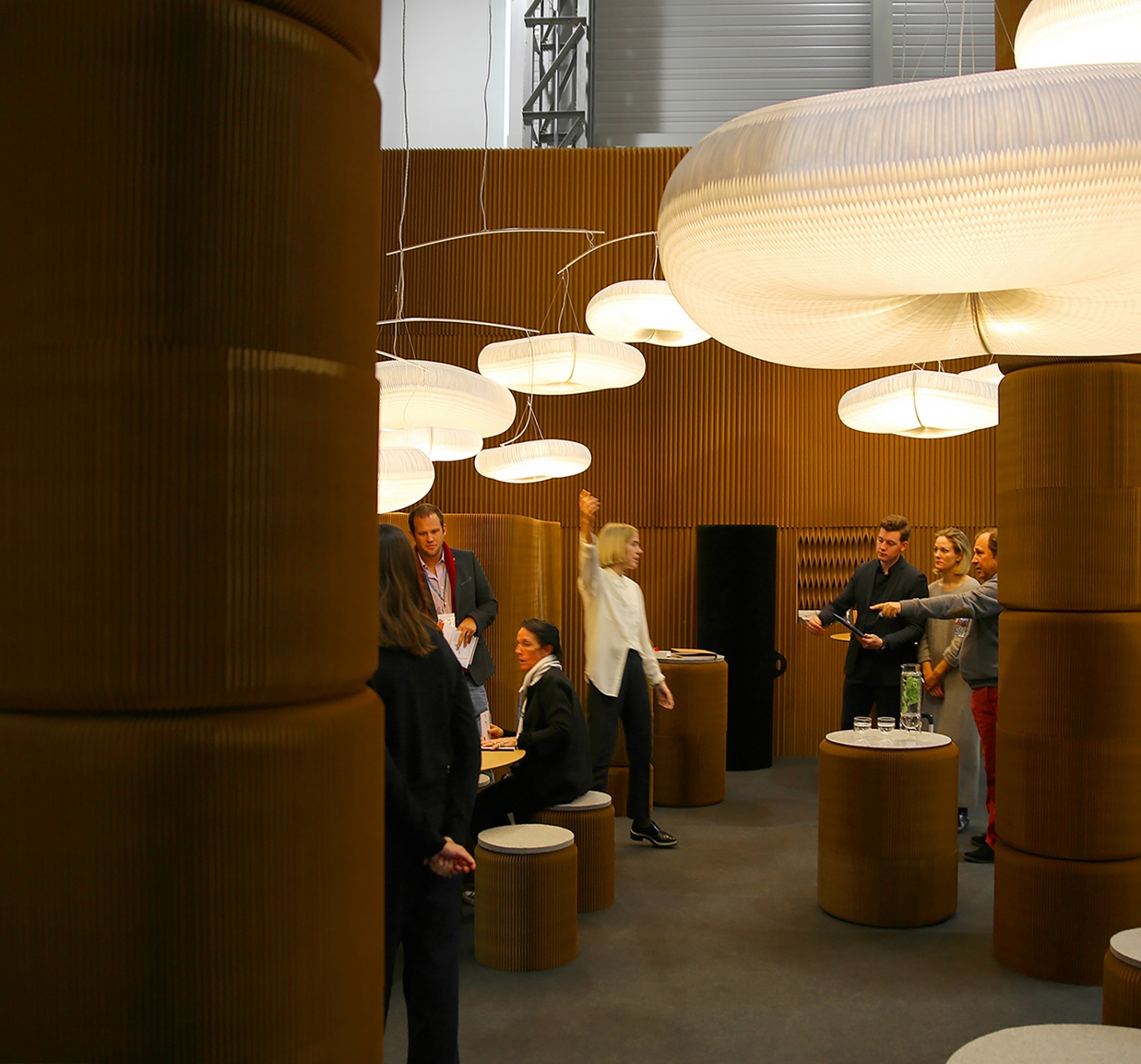 paper lighting and modular paper furniture by molo - molo's installation at Maison & Objet, 2016