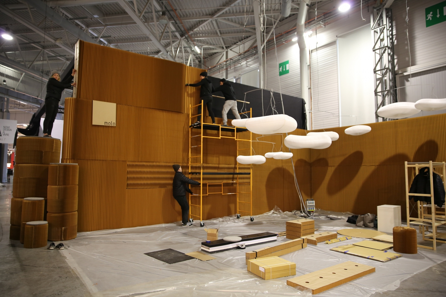 setting up the molo installation at Maison & Objet 2016 - modular paper furniture by molo