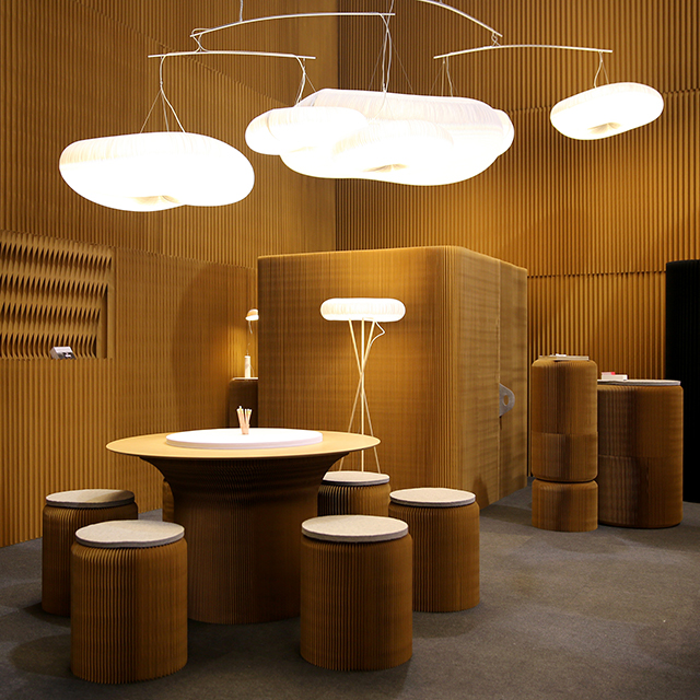 paper lighting, modular paper wall partitions, and modular paper furniture - molo's installation at Maison & Objet 2016
