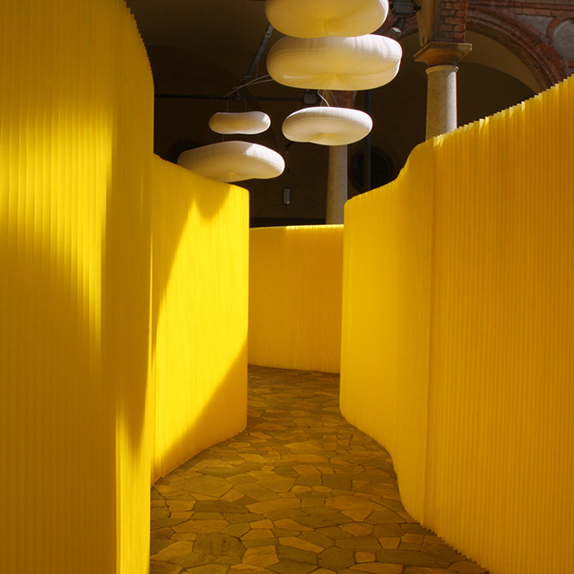 custom room divider - textile softwall in a custom yellow colour and cloud mobile softlight for MOST in Milan