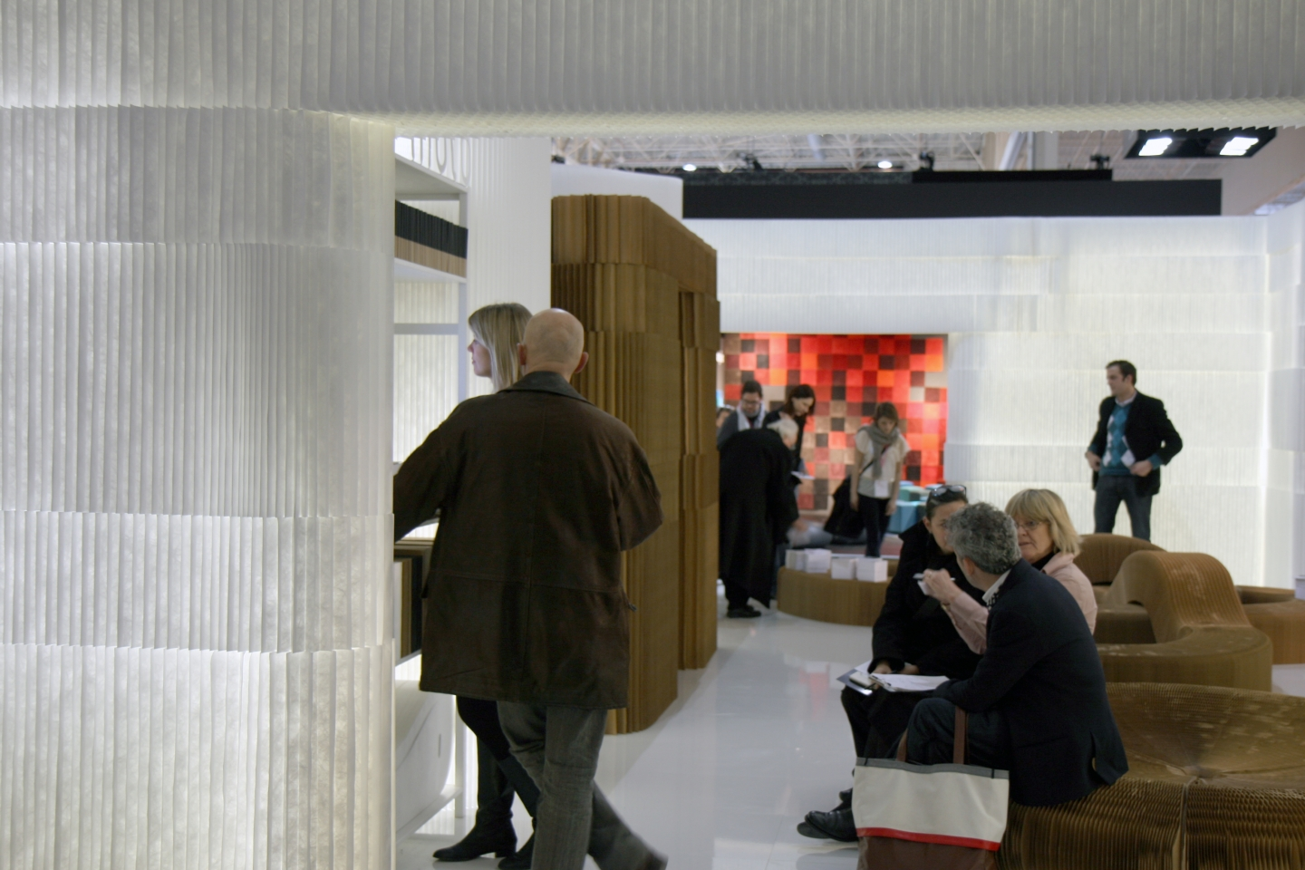 textile and paper softblock / modular room divider + portable paper furniture - molo soft collection of flexible, modular space partitions, seating, tables and lighting at Maison & Objet 2010 in Paris