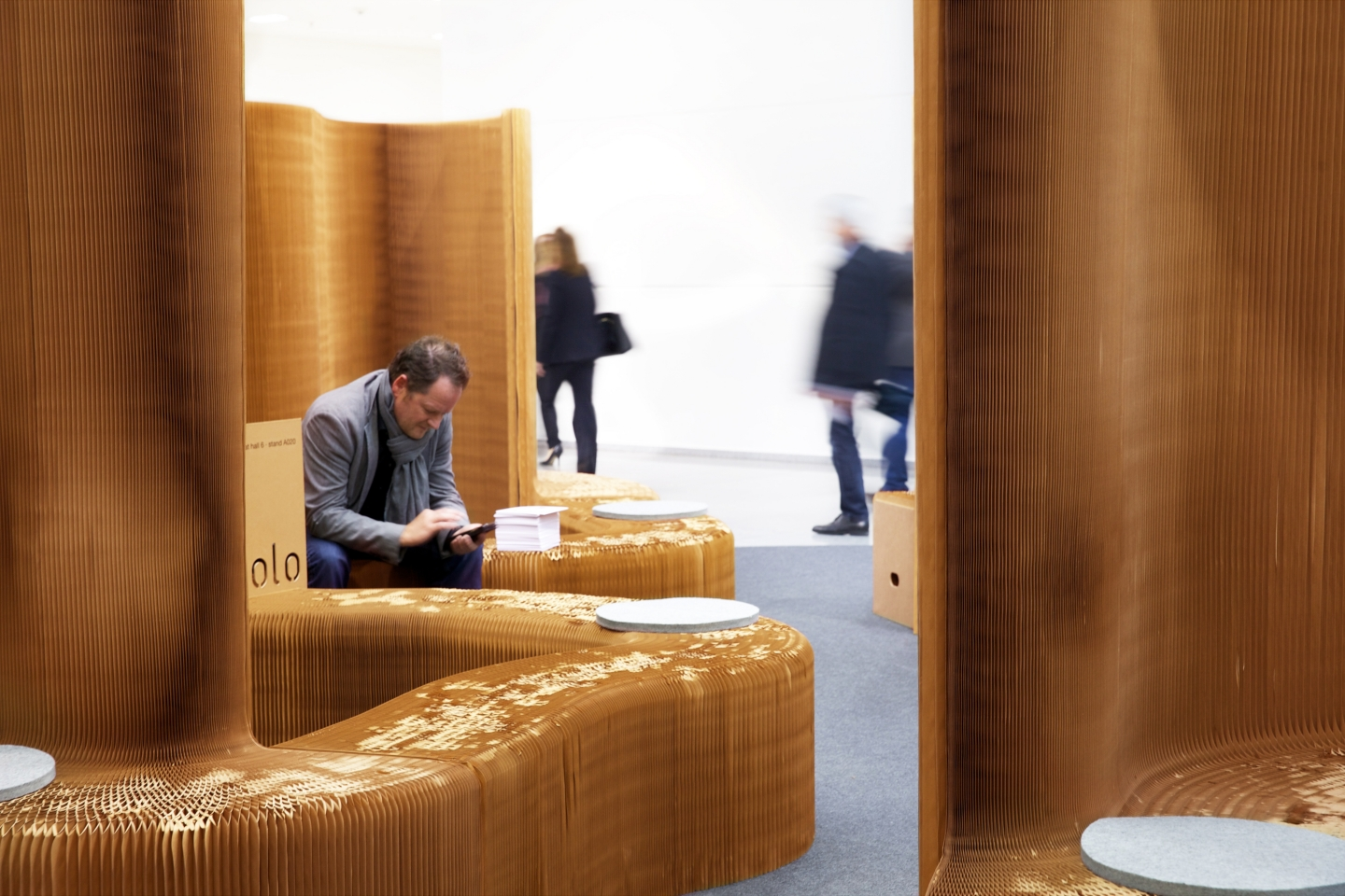modular wall partitions, paper seating - accordion paper furniture by molo