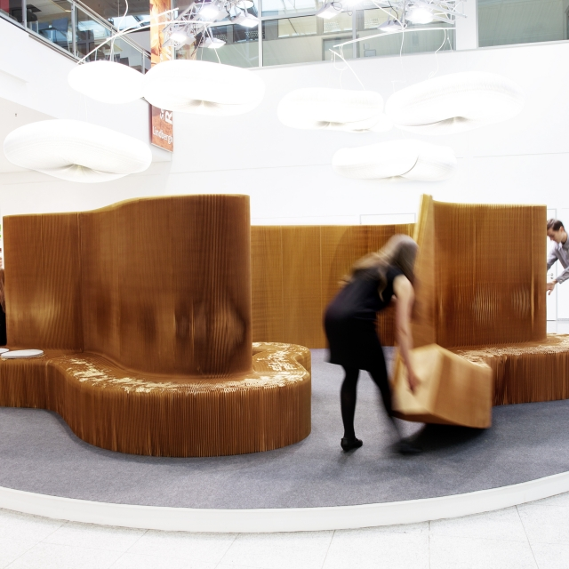 setting up the special display of benchwall for Orgatec 2014