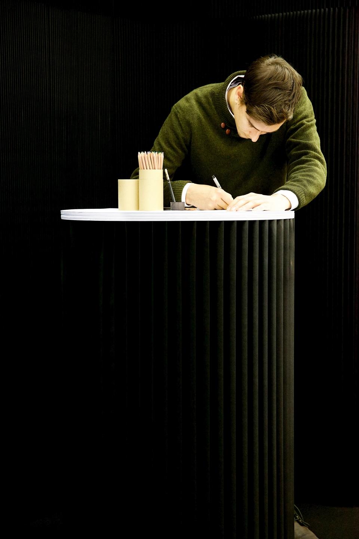custom accordion paper furniture in black by molo -molo's sketching circles accessory at Orgatec 2014