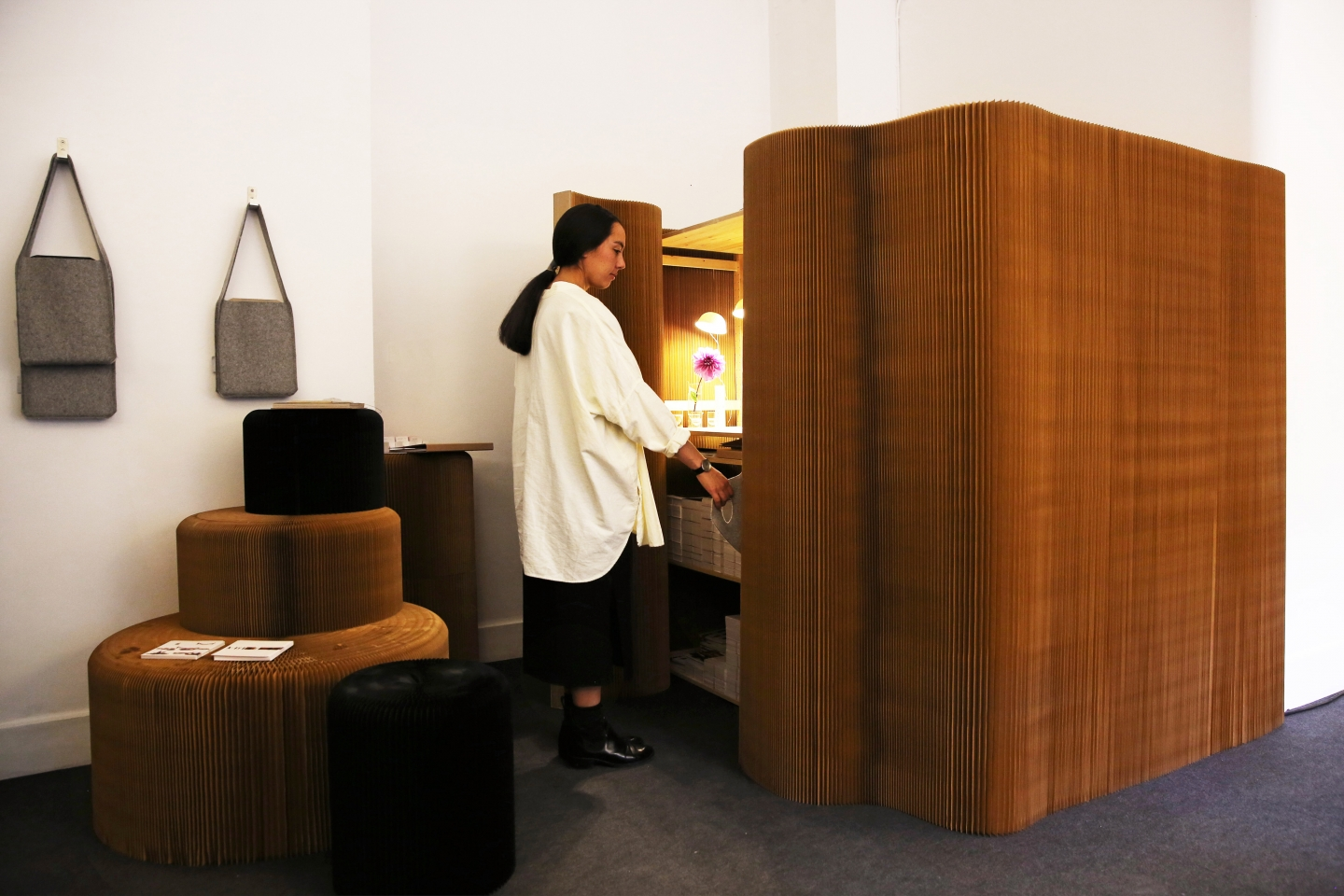 thinwall closet at Design Junction 2015 - paper wall partition, paper seating by molo