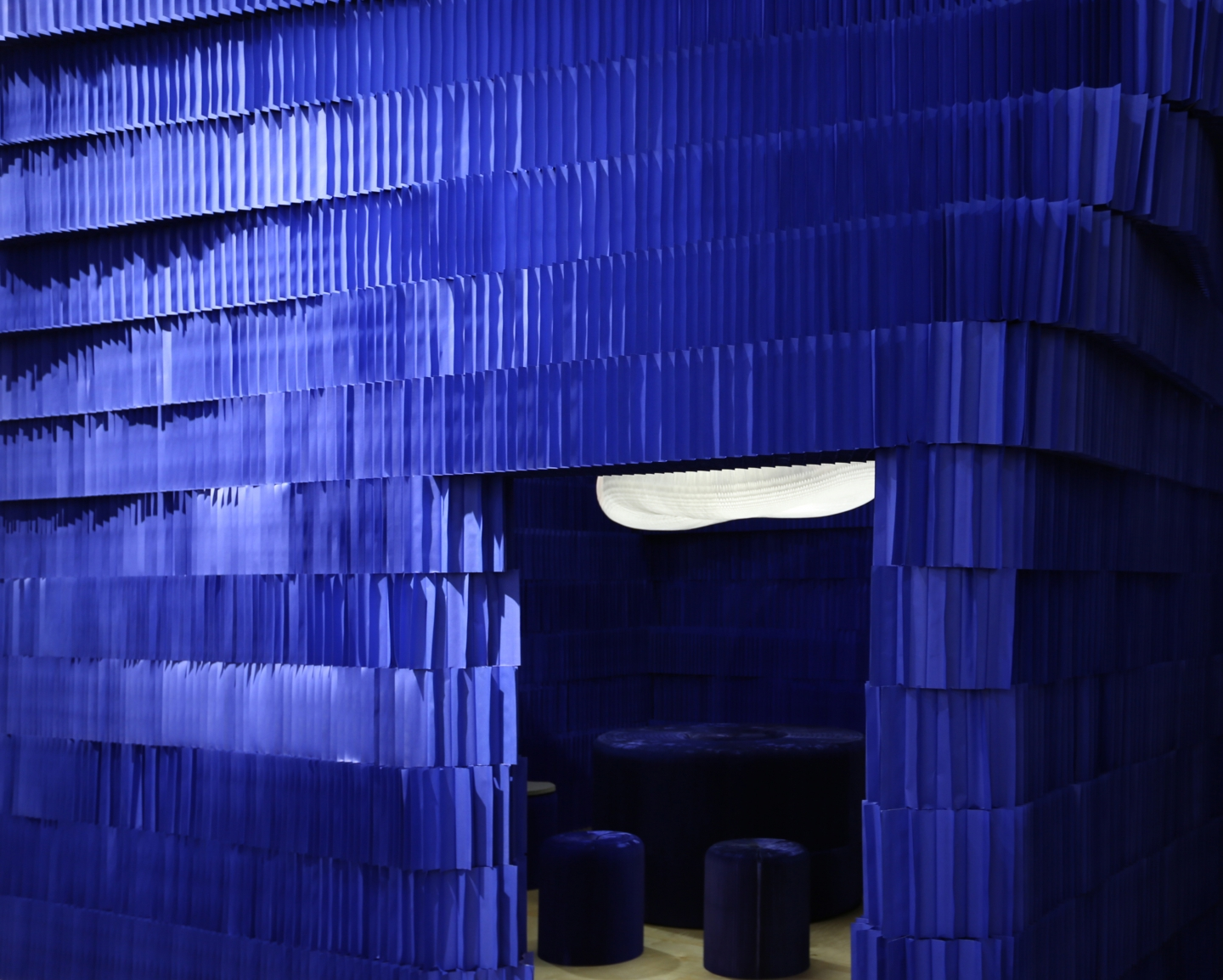 indigo paper softblock / modular room divider - foldable paper stools by molo