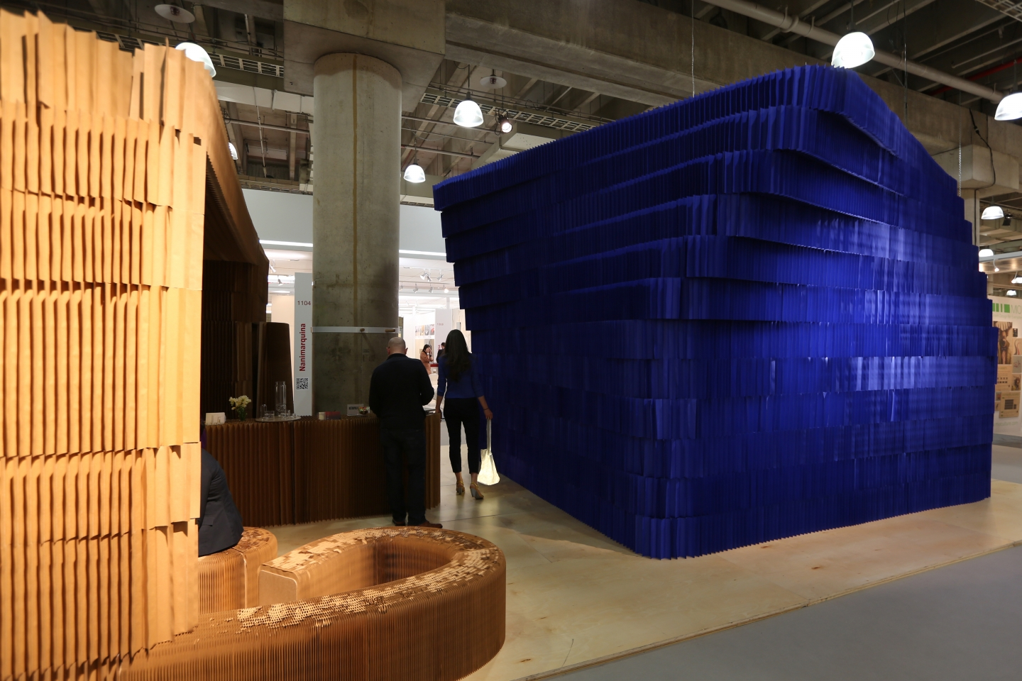exterior view of molo's paper room at ICFF - indigo paper softblock / modular room divider