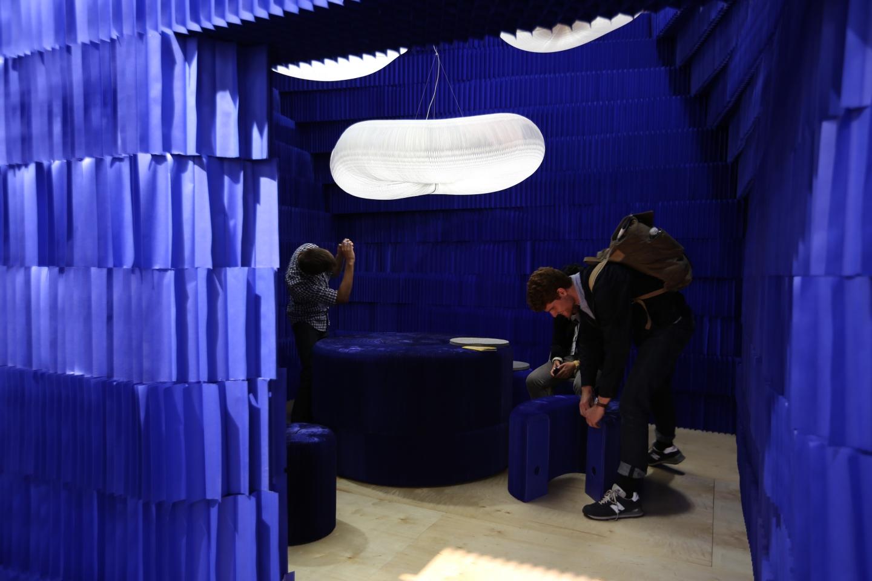 peeking into a room made from indigo softblocks - modern paper lighting