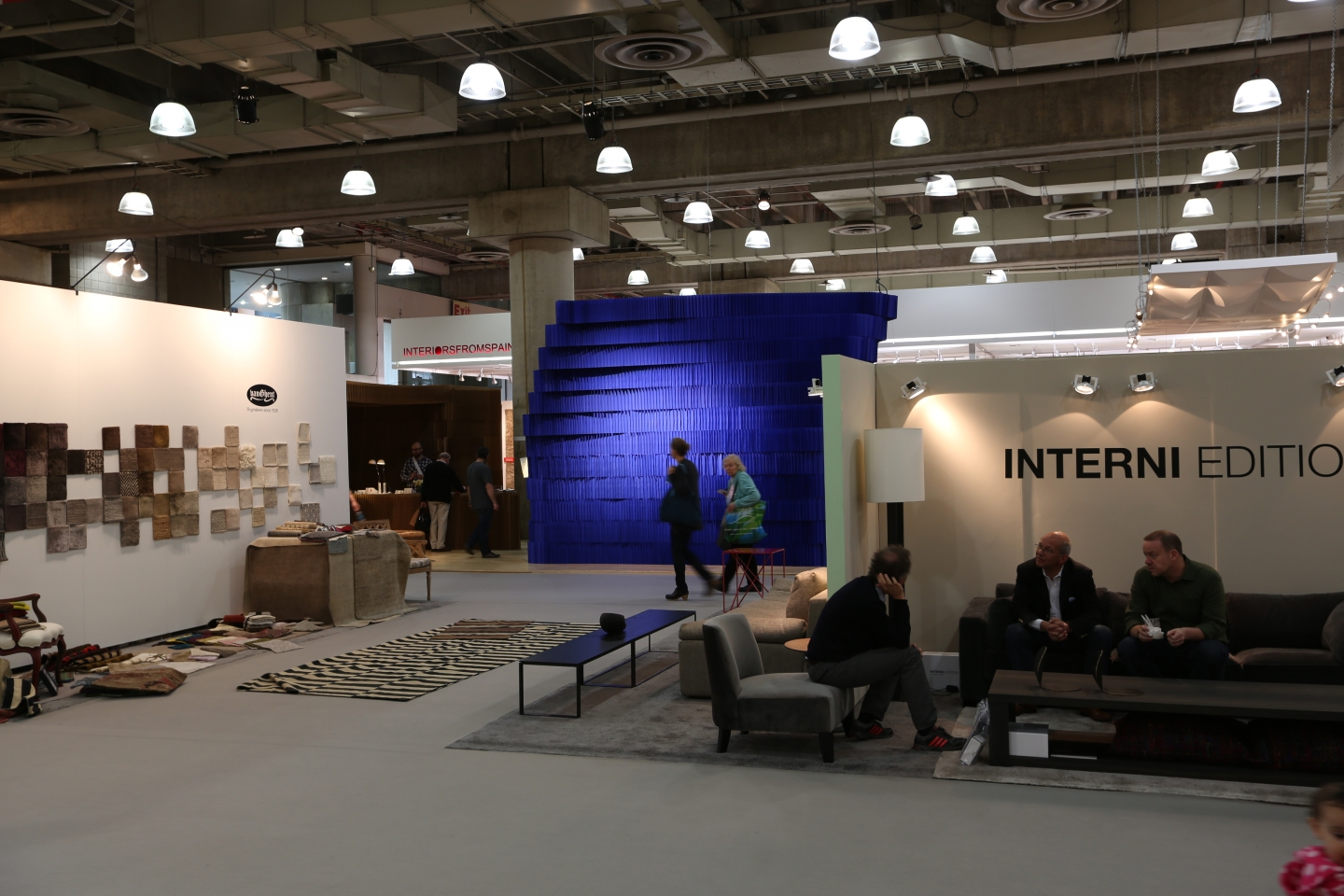the indigo softblock room juxtaposed against the other booths at ICFF 2012