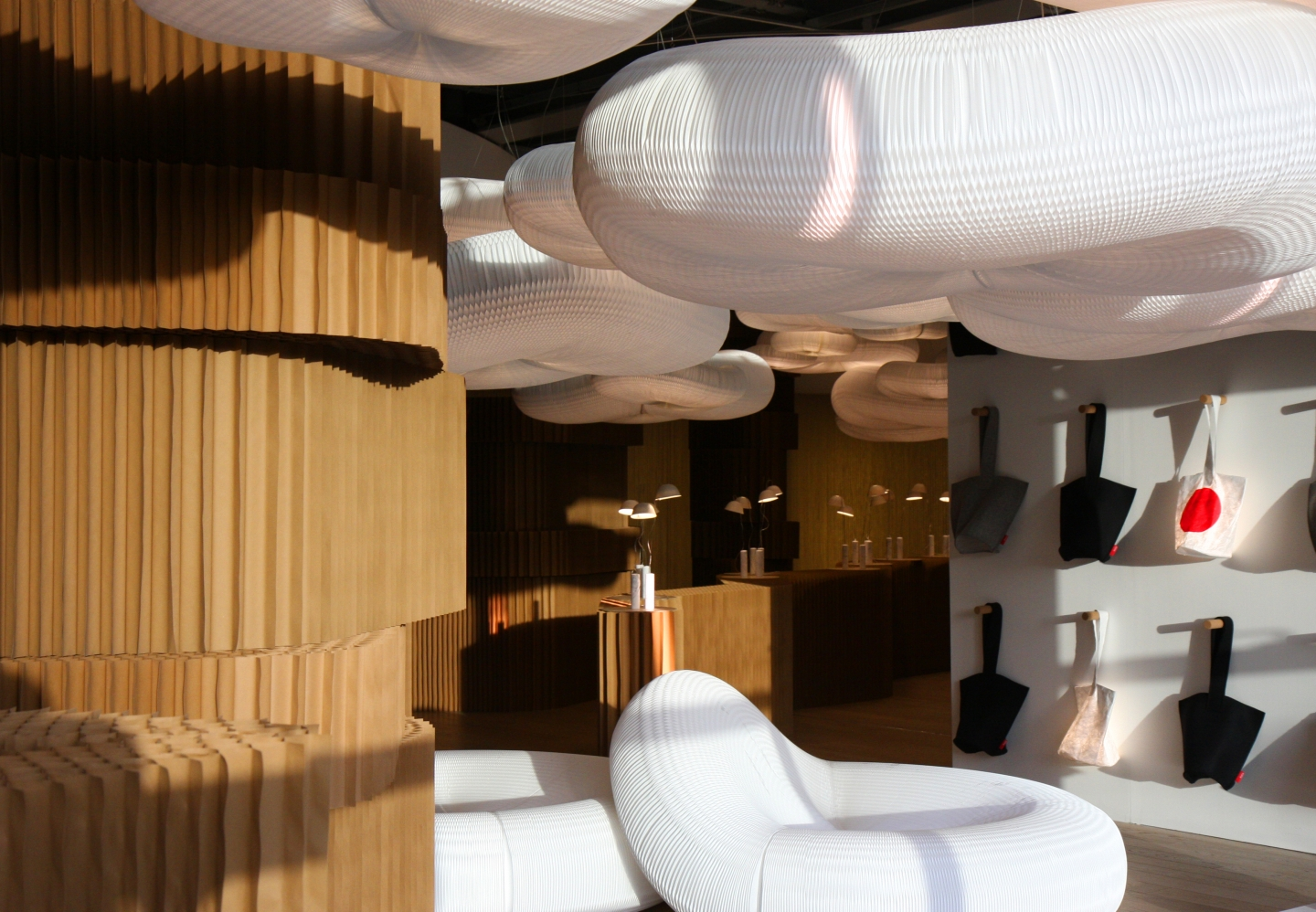 molo's molo's booth at Superstudio Piu showcased textile loungers, cloud softlight pendants and brown paper softblocks. booth at Superstudio Piu showcased textile loungers, cloud softlight pendants and brown paper.