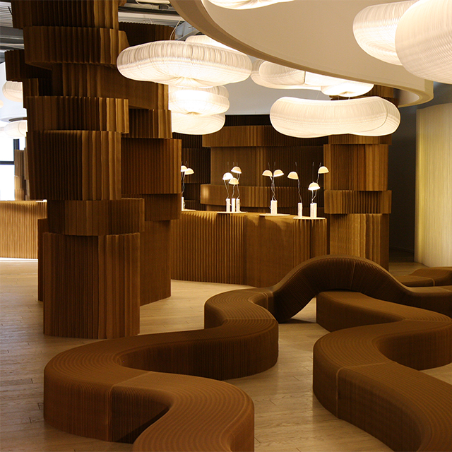 paper softseating, softblocks, cappello and cloud softlight pendants at Superstudio Piu in 2011.