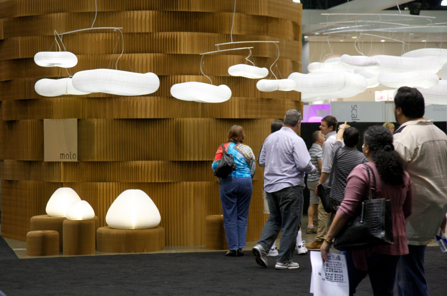 Paper softblock / room divider walls / paper lighting - a crowd visits molo's installation of paper softblocks and softlight at Dwell on Design.