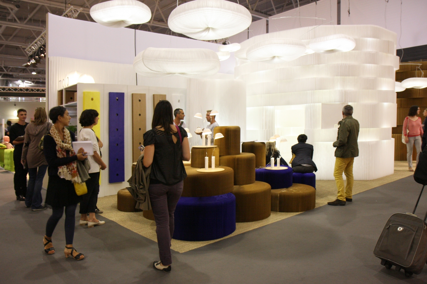 molo's installation at Maison & Objet 2011 featured custom colour softwalls, cloud pendant lighting, softseating, cappello and LED for textile softblock.