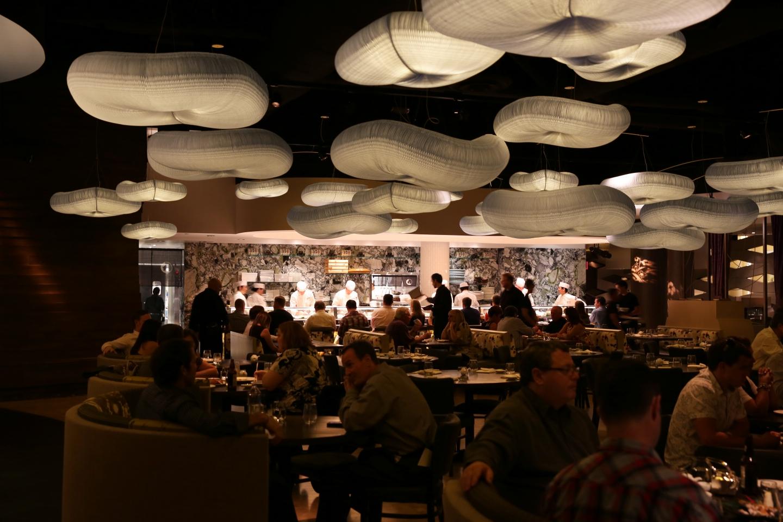 molo cloud light pendants at the Nobu Hotel restaurant in Las Vegas