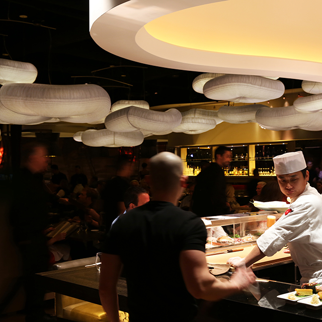 molo cloud light pendants at the Nobu Hotel restaurant in Las Vegas
