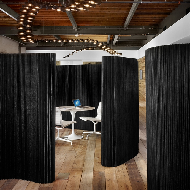 molo black textile softwalls at the Peddle LLC office in Austin, Texas