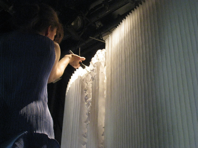 molo white textile softwalls at a collaborative exhibition with Ingo Maurer at Spazio Krizia · Milan