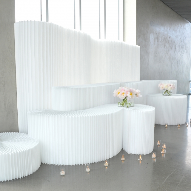 molo white textile softblocks for a creative wedding alter in New York (design by Taylor Creative)