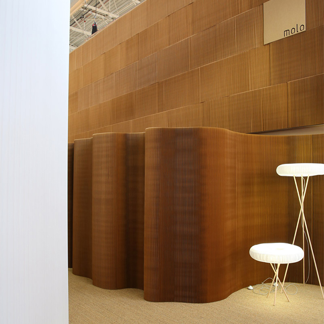 freestanding partition wall and paper lighting by molo