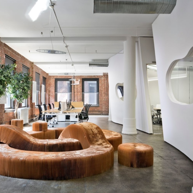 molo brown paper softseating serpentine benches at the Valtech offices in New York