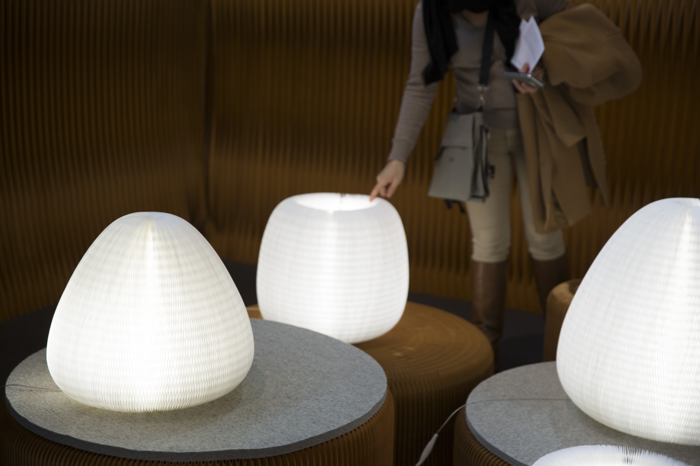 urchin softlight, molo's shapeshifting textile lamp.