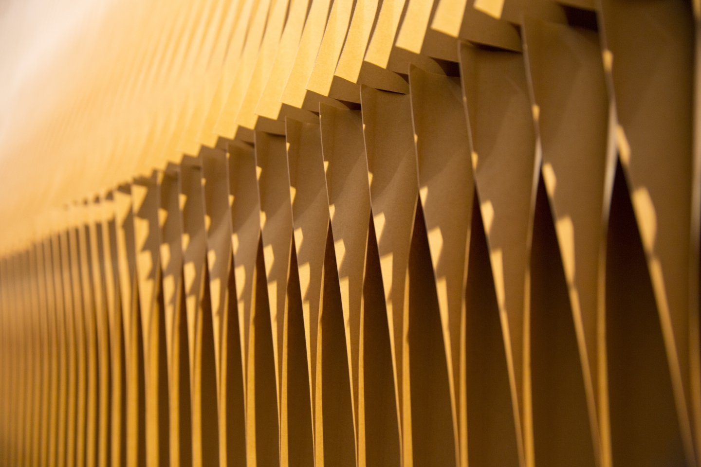 Detail of the light and shadow on paper softwall. accordion portable partition walls by molo