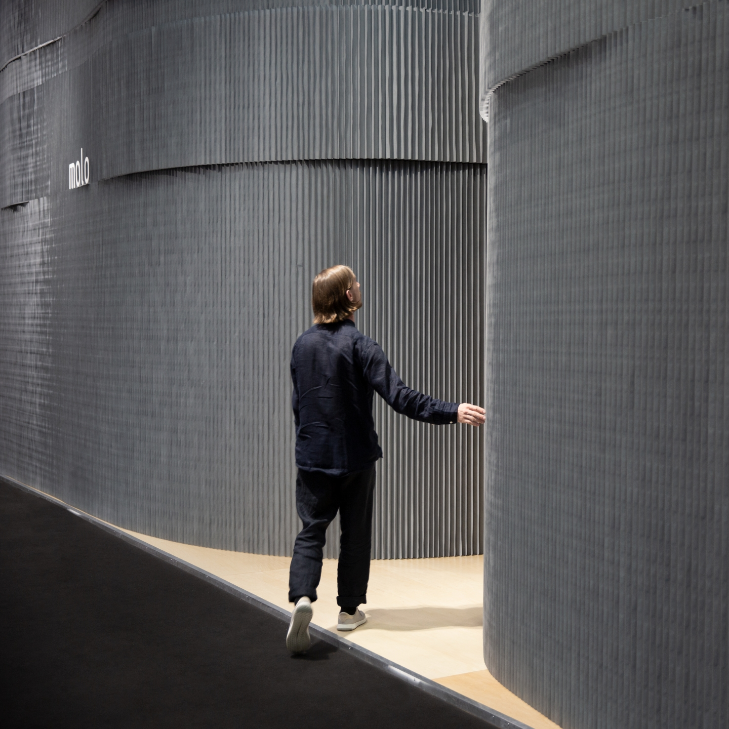 molo's installation at ICFF featured custom gray softwalls wall partitions.