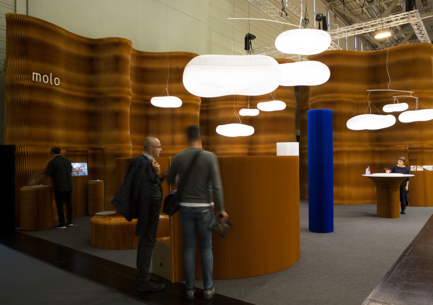 cloud mast soft lighting and accordion wall partition by molo - orgatec exhibit 2018