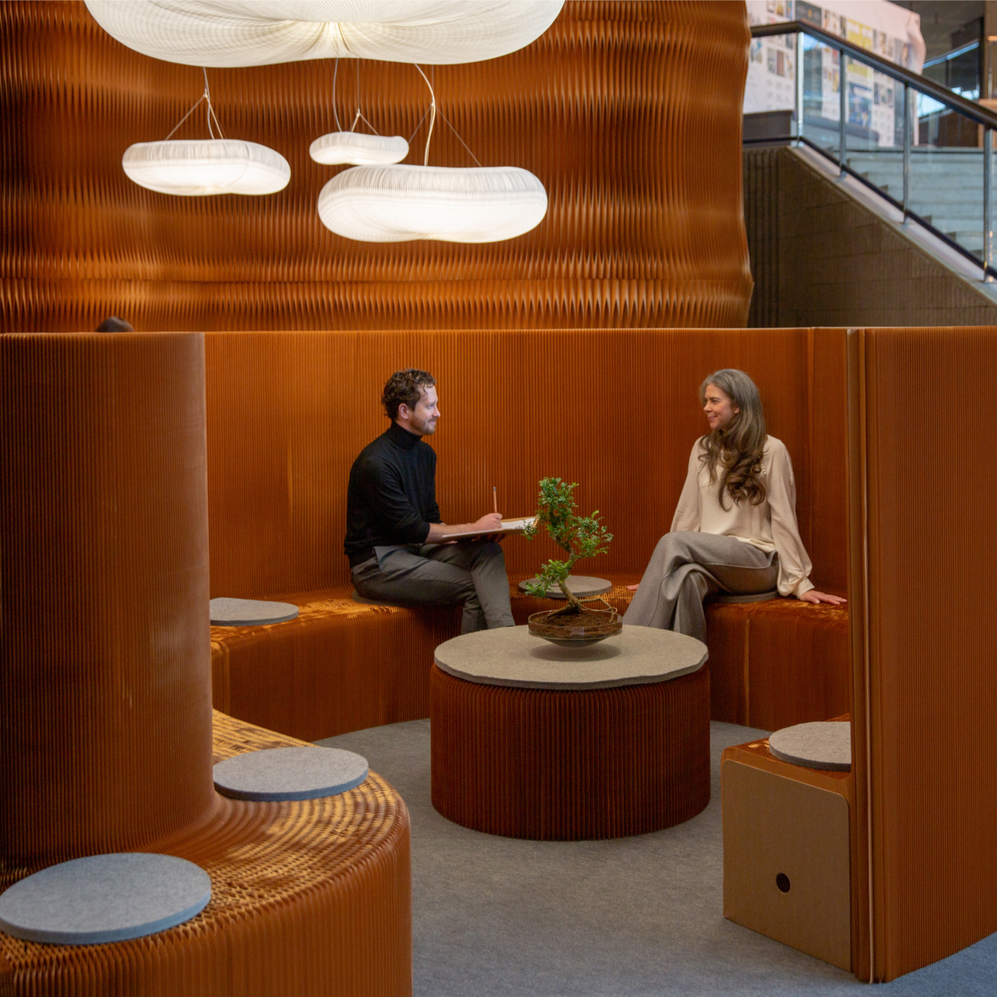 brown paper benchwall and seating