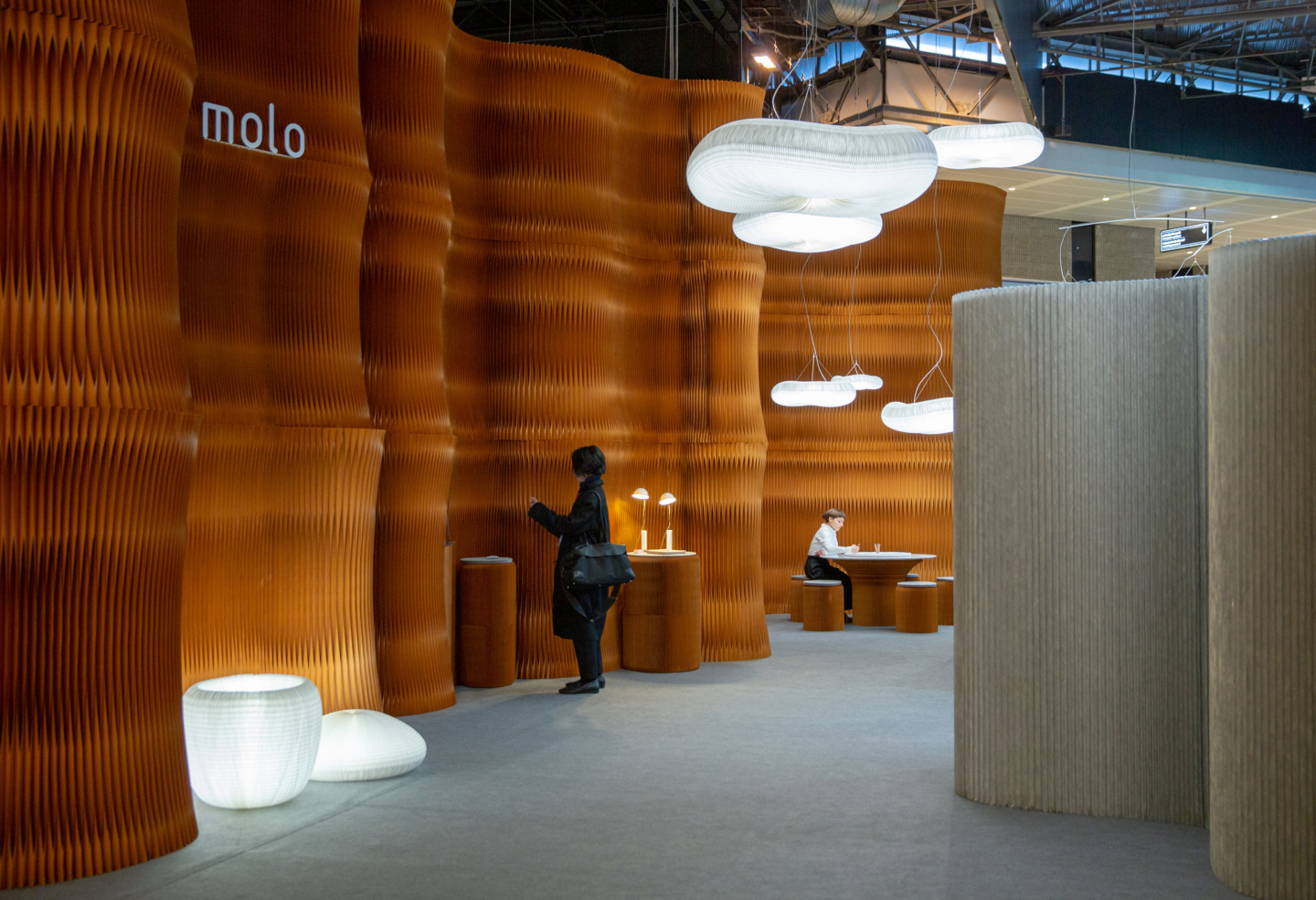 paper furniture acoustic wall cloud lamp softwall molo