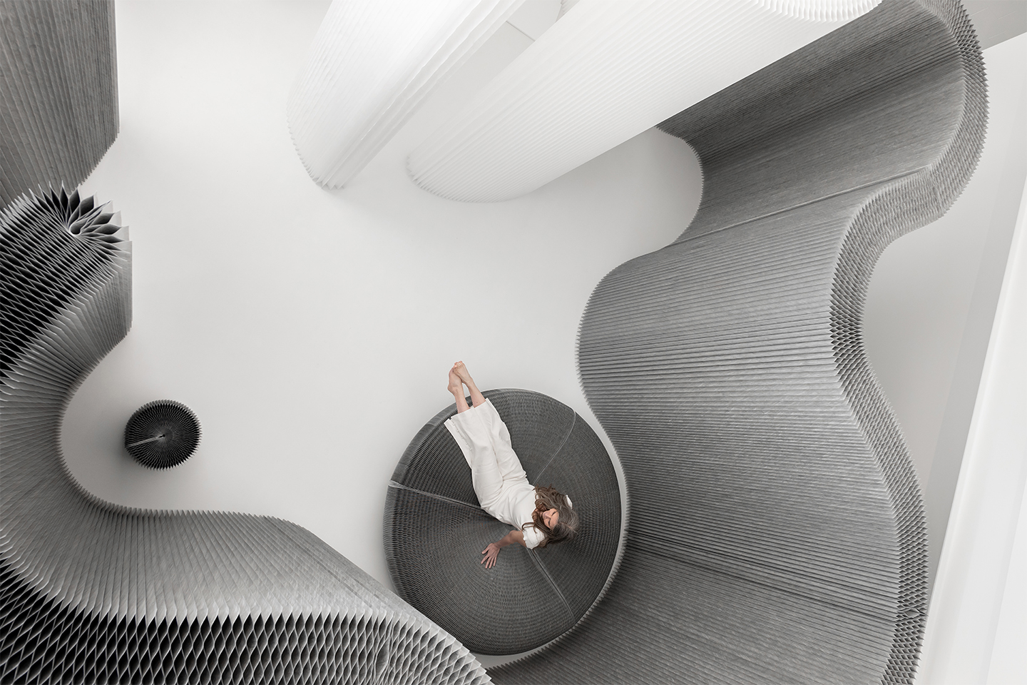 molo's custom wall partitions and paper furniture