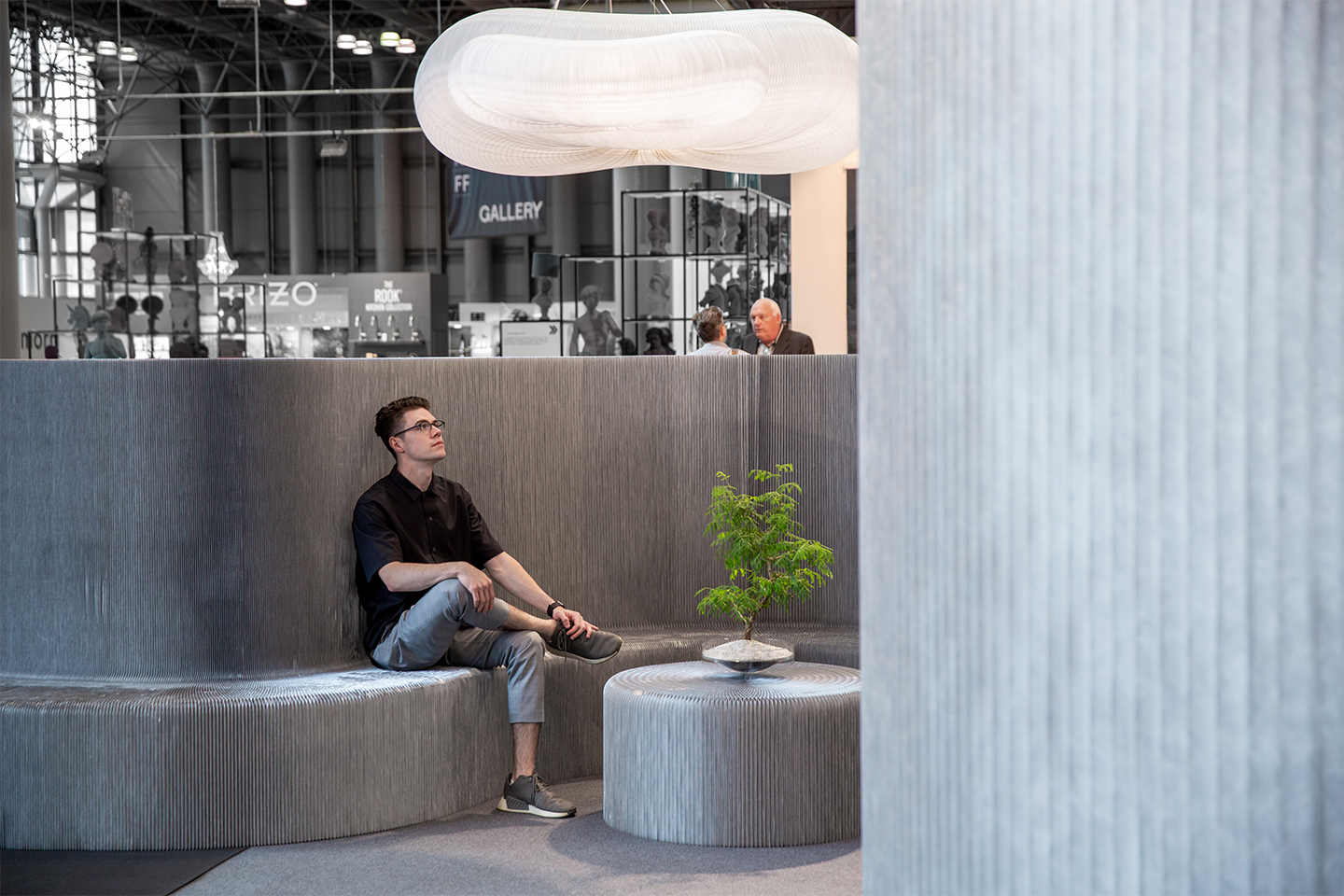 aluminum folding bench partition | molo display at ICFF 2019 NYC