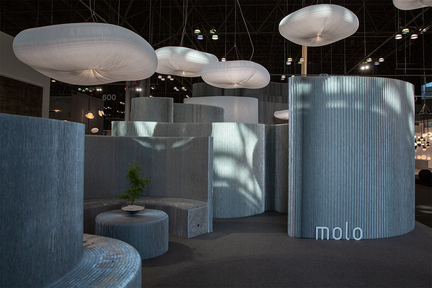 molo's display at ICFF 2019 - aluminum soft collection launch
