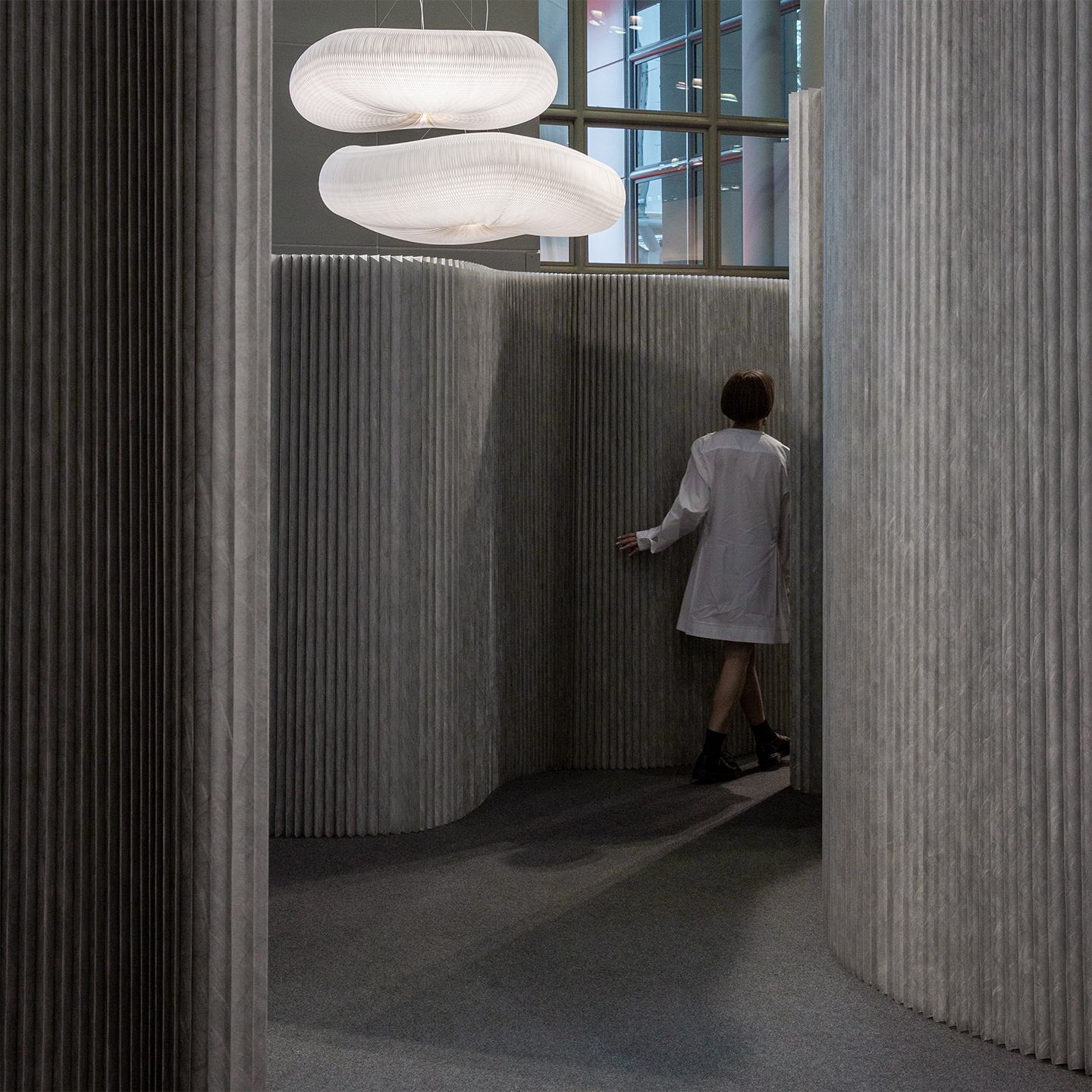 cloud softlight and aluminum paper partition wall - molo at ICFF 2019