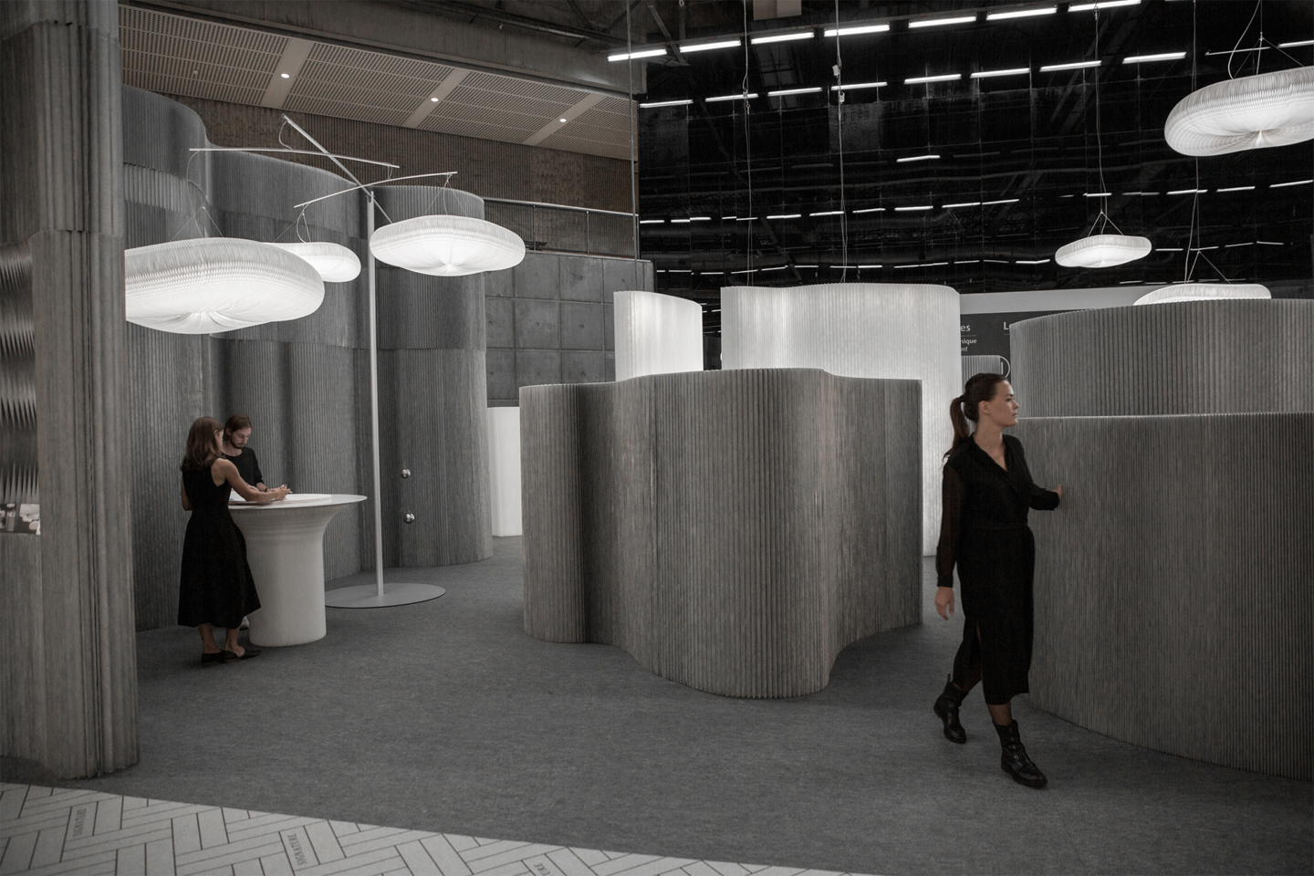 cloud lighting and aluminum room partitions by molo