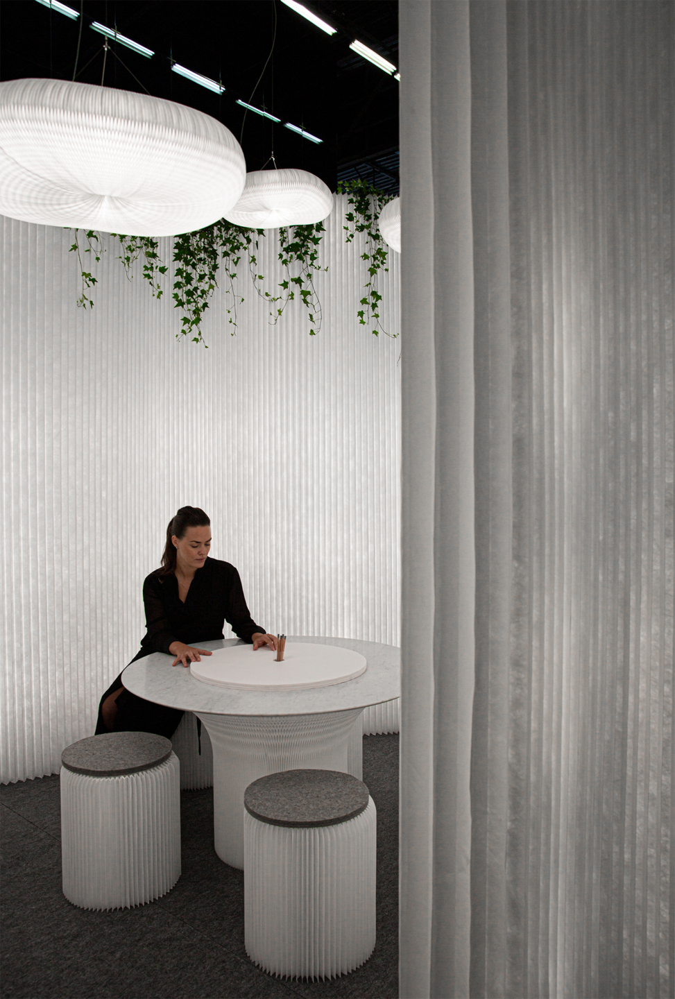 cloud pendant acoustic lighting, cantilever table with textile stools - molo