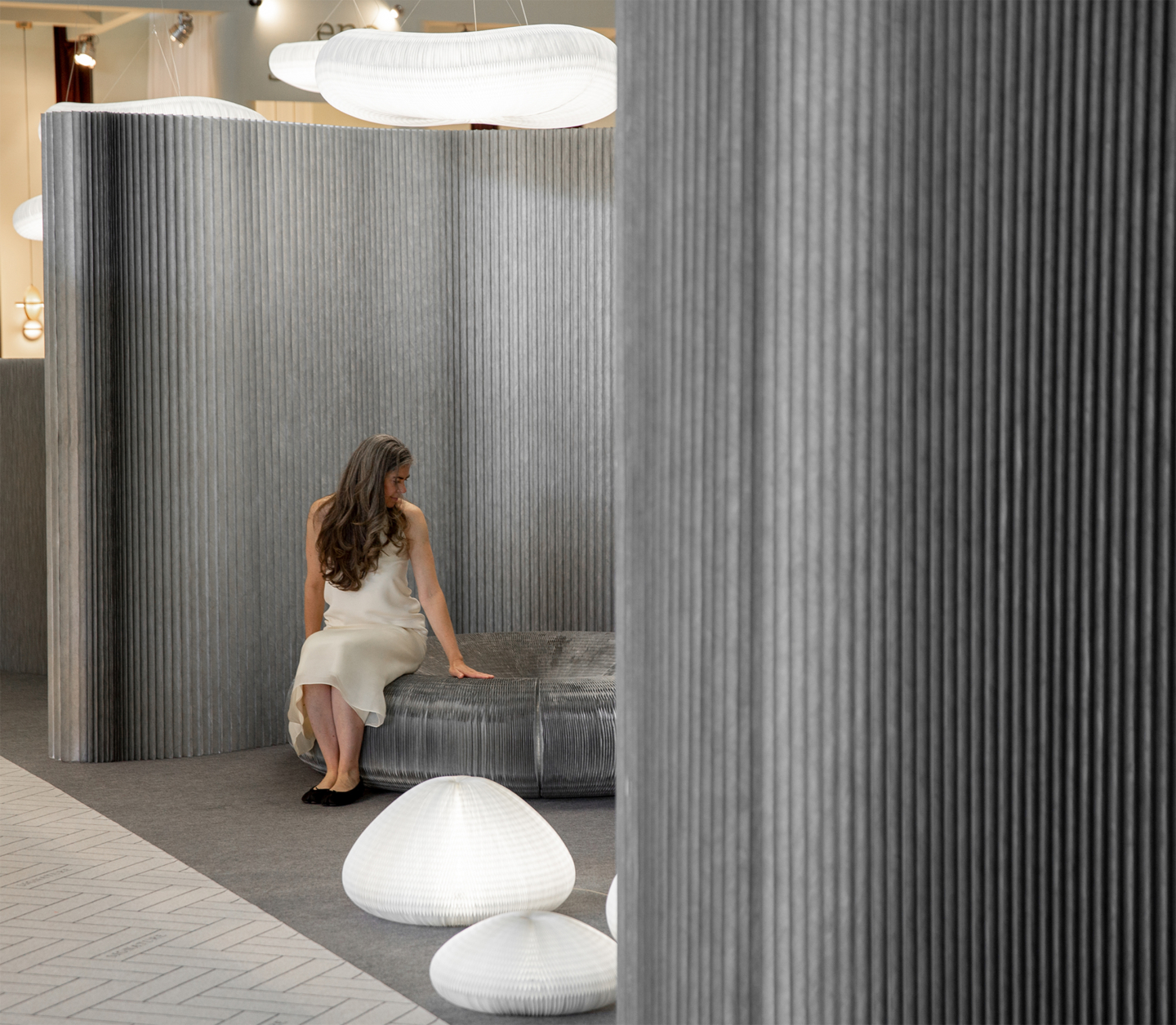 urchin and cloud lighting, flexible seating by molo