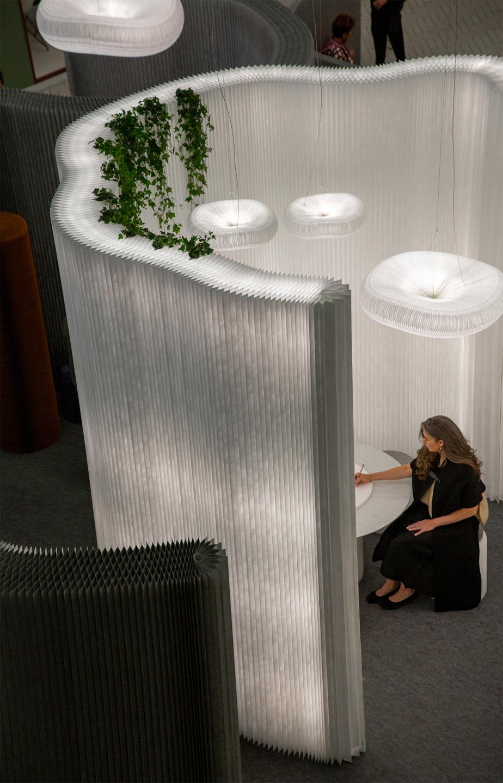cloud pendant acoustic lighting, cantilever table, aluminum textile room divider,