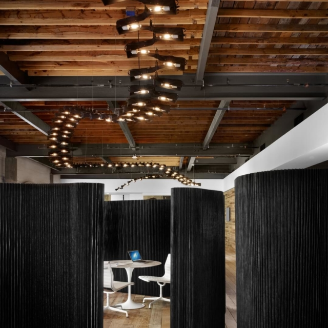 black acoustic office wall dividers by molo - peddle offices in austin