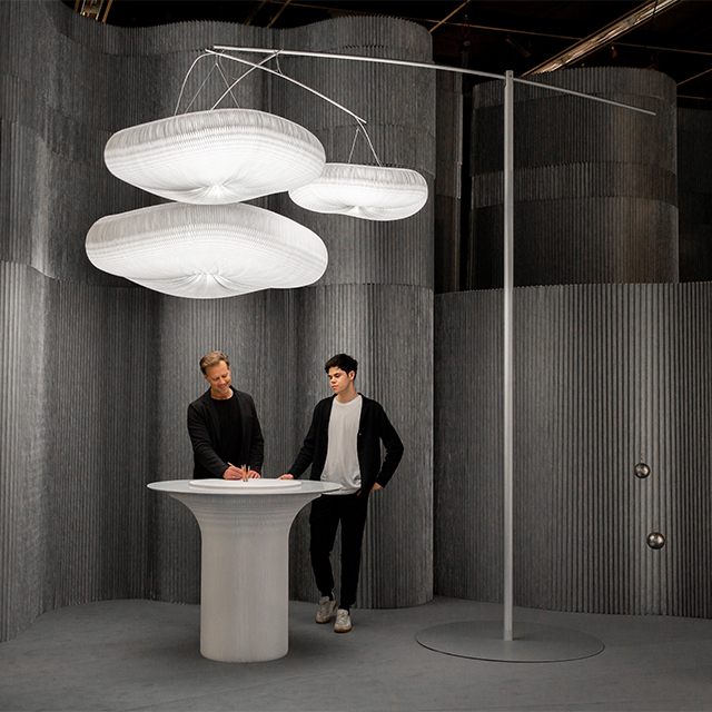 trade show furniture - aluminum room divider wall, cloud mast pendant light lamp, cantilever table by molo