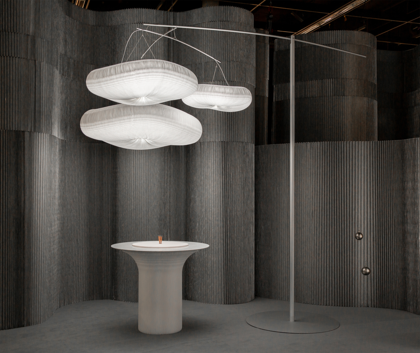 aluminum room divider wall, cloud mast pendant light lamp, cantilever table by molo